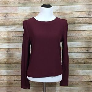 ASTR the Label Bold Shoulder Blouse - Wine - Small